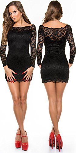 fedbf0b03bf9 Trendy Minikleid aus Spitze mit Carmenausschnitt (Schwarz): Amazon ...