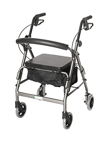 4 Wheel Padded Seat Basket (Essential Medical Supply W1650s-1 Feather light 4 Wheel Walker with loop Hand Brakes,)