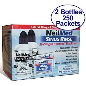 NeilMed Sinus Rinse - 2 Bottles - 250 Premixed Packets - Value Pack