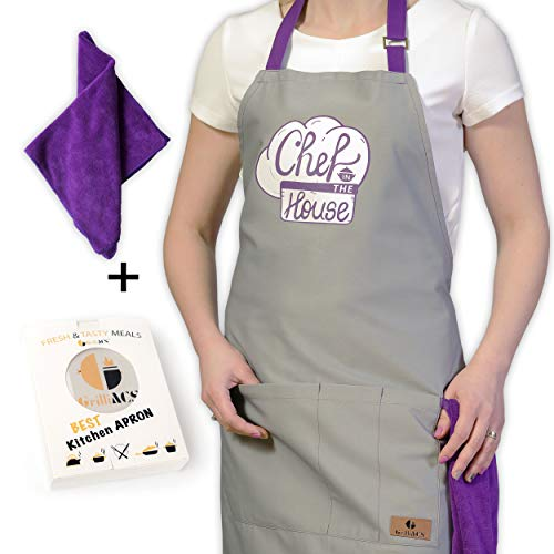 GrilliACS Chef in The House Cooking Apron for Women or Men, 3 Utility Pockets, Adjustable Neck + Extra Long Cotton Ties, Purple Kitchen Towel, Funny Bib Apron for Baking, Barbecue, Grill, BBQ, Gray