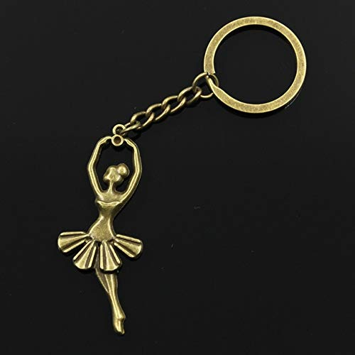 (Value-Smart-Toys - 30mm Key Ring Metal Key Chain Keychain Jewelry Antique Silver Plated ballet dancer ballerina 61x24mm Pendant - Special Gifts)