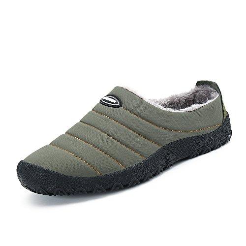 Hommes Chaussures Pantoufles Fermé Hiver Imperméables welltree Bas Neige Fourrure Doublé Top Kaki Pour Doublé Femmes Chaud Chaussure BZww5X