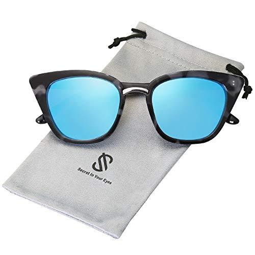 SOJOS Cat Eye Brand Designer Sunglasses Fashion UV400 Protection Glasses SJ2052 with Blue Tortoise Frame/Blue Mirrored Lens (Mirrored Sunnies)