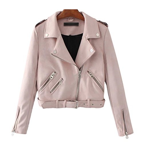 Jacket Suede Crop up Outwear Baymate Pink Coat Leather Faux Zip Women's Biker 0fCxqaS