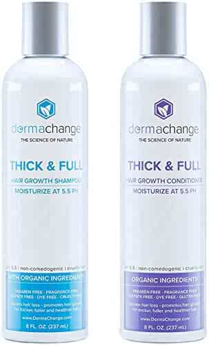 Organic Vegan Hair Growth Shampoo and Conditioner Set - Natural Hair Regrowth with Vitamins - Hair Loss & Thinning Products - Curly or Color Treated Hair - For Men and Women - Sulfate Free (8oz)
