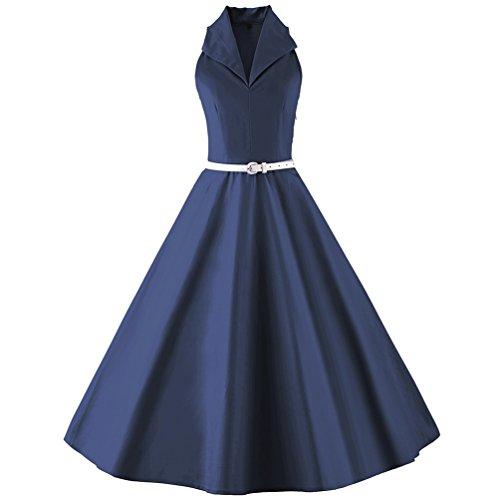 Robe Swing de pour Soire Rtro 50's Pliss Robe Cocktail Marin YouPue Robes Bleu Annes Vintage Style nXqwAgOA