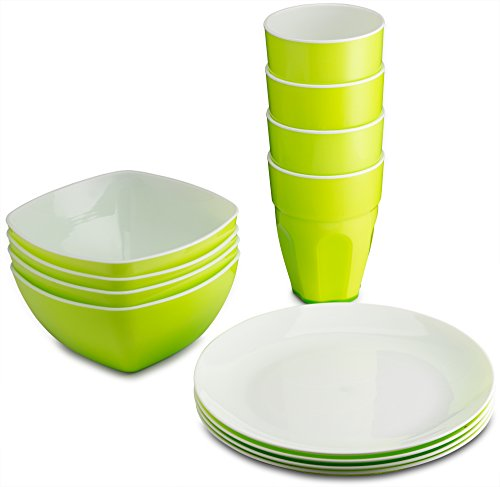 PLASTI HOME Reusable Plastic Dinnerware Set (12pcs) - Ideal For Kids. Fancy Hard Plastic Plates, Bows & Cups In Green Colors - Microwaveable & Dishwasher Safe Flatware & Tumblers For Daily Use,