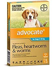 Advocate - Fleas, Heartworm and Worms Treatment for 4-10 kg Dogs, 6 Pack