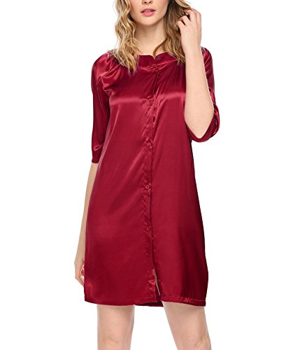 (Luxilooks Women's Satin Sleepwear 3/4 Sleeve Button Front Nightgown)