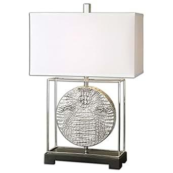 Silver Crocodile Faux Reptile Table Lamp Round Modern