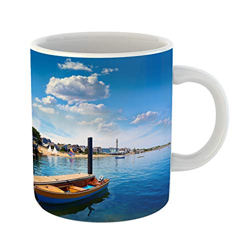 Emvency Coffee Tea Mug Gift 11 Ounces Funny Ceramic Blue England Cape Cod Provincetown Beach Massachusetts Usa National Gifts For Family Friends Coworkers Boss Mug -