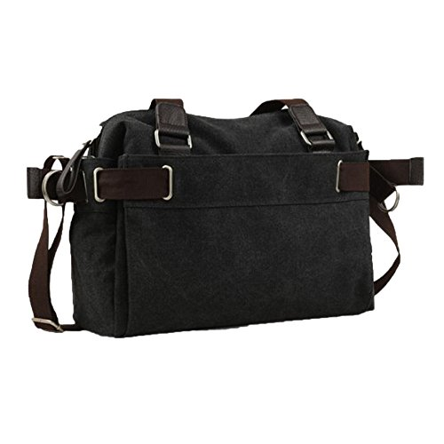 Hiking Leisure Trendy Canvas Shoulder Outdoor Men's School Moving Satchel Black Bag Travel 0axwH5fa