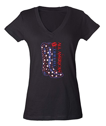 All American Cowgirl Sexy Boots Ladies V-Neck T-shirt Western Girls are #1 (Western Ladies T-shirts)