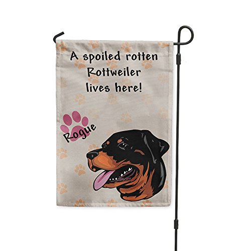 Fastasticdeals Spoiled Rotten Rottweiler Dog Lives here Yard Patio House Banner Garden Flag Flag Only 8