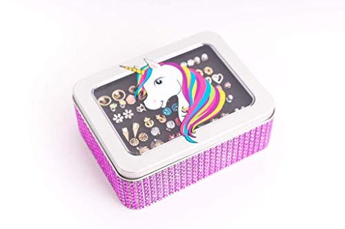 - Unicorn Jewelry Box - Hot Pink Jeweled Ribbon - Earring Storage