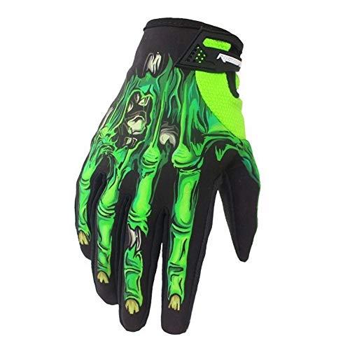 MAXING Winter&Autumn Skeleton Bones Gloves Windproof Waterproof Touch Screen Sports Glove Bikes Motorcycle (Green, XL)