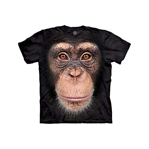 Chimp Chimpanzee - The Mountain Chimp Face Child T-Shirt, Black, XL