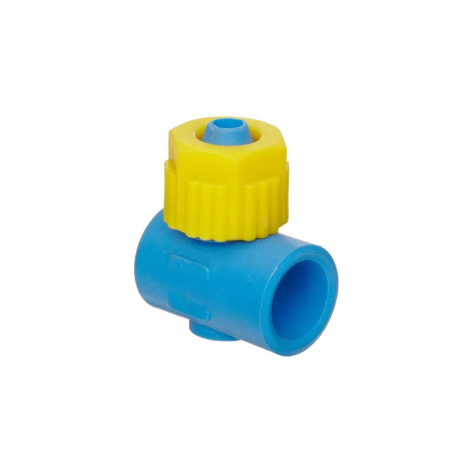 Tefen Fiberglass Polypropylene Compression Tube Fitting, Single Banjo Body, Yellow/Blue, 5/16 Tube OD x 1/8 Bore (Pack of 5)