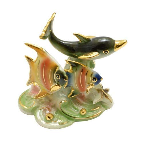 Feng Shui Ocean with Dolphins and Fishes - Hand Crafted and Decorated Fine Chinese Porcelain, Figurine 209302 (Figurines Dolphin Porcelain)
