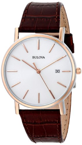 Bulova Men's 98H51 Stainless Steel Dress Watch With - Bulova Mens Leather Wrist Watch