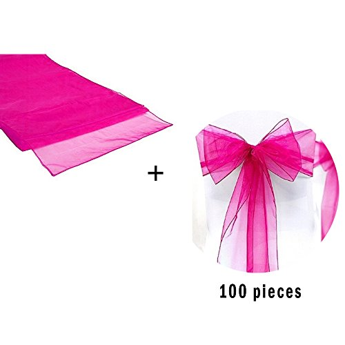 David accessories Organza Chair Sashes Organza Table Runner Set Romantic Bow Sash for Wedding and Events Supplies Party Decoration Chair Sash Table Cover (Hot Pink)