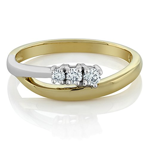 Gem Stone King 14K Solid 2-Tone Yellow and White Gold Diamond 3-Stone Bypass Ring 0.25 cttw (Size 9)