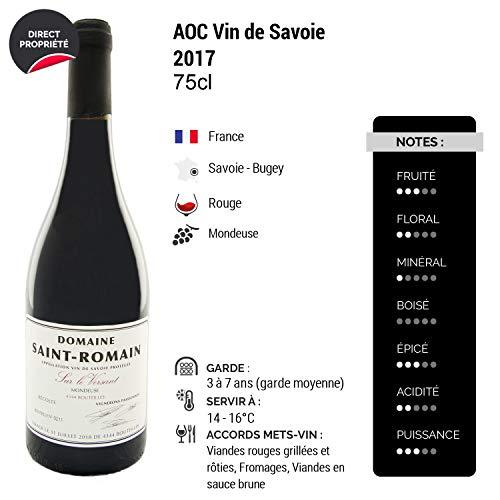 Vin-de-Savoie-MondeuseSur-le-Versant-Rouge-2017-Domaine-Saint-Romain-Vin-AOC-Rouge-de-Savoie-Bugey-Cpage-Mondeuse-Lot-de-6x75cl