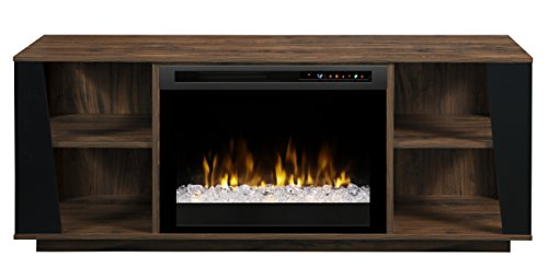 Glass Walnut Entertainment Center - Dimplex Electric Fireplace, TV Stand, Media Console and Entertainment Center with Glass Ember Bed, Storage Cabinets and Adjustable Shelving in Walnut Finish - Arlo #