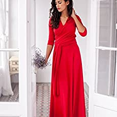 Long red multi way wrap evening dress with three quarter sleeve - Size M