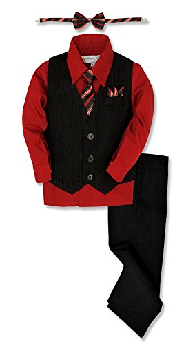 Johnnie Lene JL40 Pinstripe Boys Formal Dresswear Vest Set (10, Black/Red)