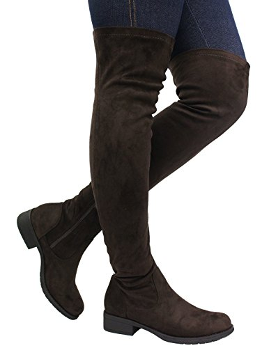 The Size Women 8 SAUTE Mid Heel Over Block Boots Low STYLES Knee High Brown Ladies Suede Stretch Flat Thigh 3 xZZIqpS