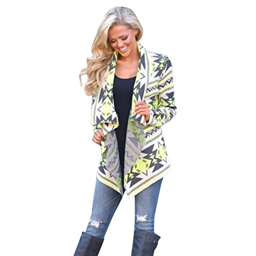 Clearance Sale! Women Cardigan,Canserin Women Floral Printed Irregular Shawl Kimono Cardigan Tops Cover Up Blouse Size US 4-10 (M, Yellow)