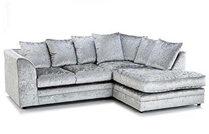 Marca Plata Tela de Terciopelo Arrugado sofá de Esquina ...