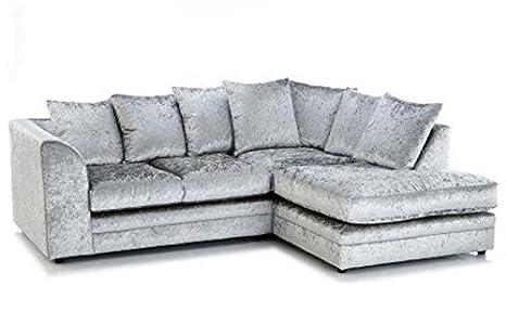 Nuovo argento in velluto tessuto divano ad angolo verso destra 4 ...