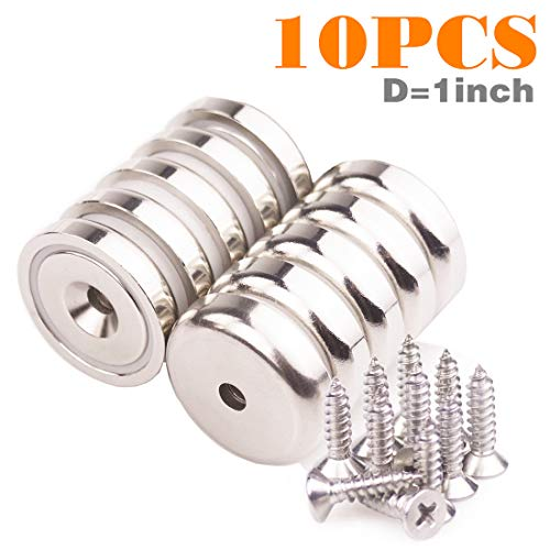 Strong Neodymium Magnets Disc Countersunk Hole Magnets,Heavy Duty Rare Earth Magnets for Hanging,Home,DIY, Kitchen,Crafts. Science (D1.0
