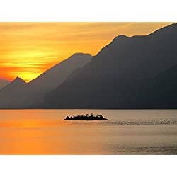 LAMINATED 32x24 Poster: Lake Garda Sunset Lake Italy Island