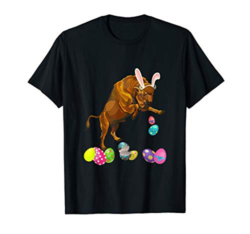 Bison And Bunny Rabbit Hat Easter Eggs Happy Day T Shirt ()