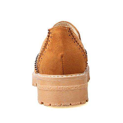 Balamasa Dames Vierkante Hakken Uitgehold Platform Urethaan Vlakken-schoenen Geel