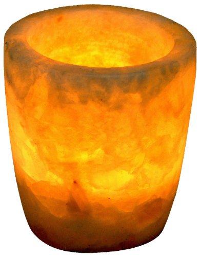 Alabaster Candle Holder (Egyptian Soft white alabaster stone hand carved candle holder votive)