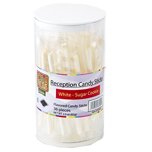 White Candy Mini Sticks, Better than the Traditional Candy Canes, Reception Sticks 36 Count - Oh! Nuts (White - Sugar (Mini Coffee Candy)