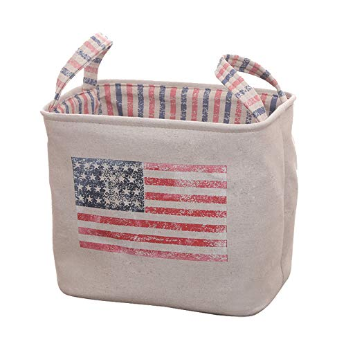 MEGACY American Flag Pattern Storage Baskets, Cotton and Linen Foldable Home Organizer Bin for Baby Nursery,Toys,Laundry,Baby Clothing,Gift Baskets (Big Square, American Flag)  ()