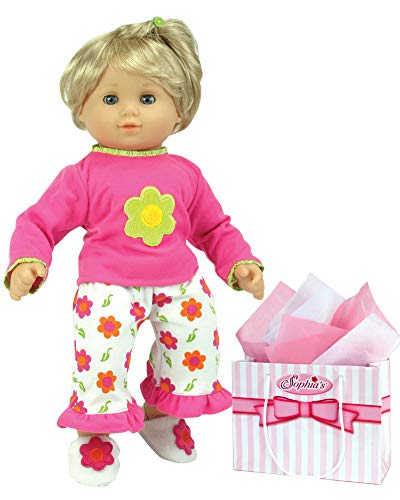 Sophia's 15 Inch Baby Doll Pajamas, Fits American Girl Bitty Baby 15 Inch Baby Doll & More! Flower Print Capri Pajama Pants & Shirt Gift Plus Bag ()