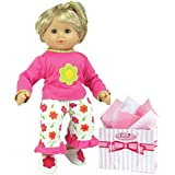 Sophia's 15 Inch Baby Doll Pajamas, Fits American Girl Bitty Baby 15 Inch Baby Doll & More! Flower Print Capri Pajama Pants & Shirt Gift Plus Bag Included