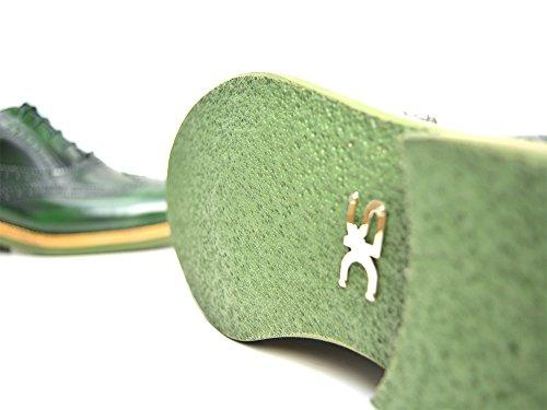 DIS da Vinci - Francesina in Pelle Verde abrasivata con Coda Rondine e Suola in Gomma Leggera Francesina verde abrasivata con coda di rondine e suola in gomma leggera, personalizzata, fatto a mano e su misura, made in Italy.