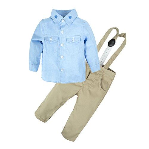 Elephant Apparel - BIG ELEPHANT 2 Pieces Baby Boys Long Sleeve Shirt Suspender Pant Set Q20 Light Blue 6-12 Months