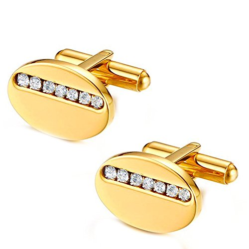 (JAJAFOOK Men's Womens 18K Gold Plated Cubic Zirconia Inlay Oval Initial Cufflinks,For Wedding Business,Fashion Tuxedo Cufflinks and Studs)