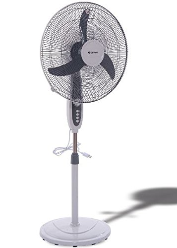 K&A Company Fan Floor Oscillating Stand Pedestal Adjustable Standing Portable Air Home Quiet Indoor 18''