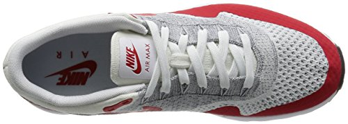 NIKE Herren Air Max 1 Ultra Flyknit Laufschuh Weiß / Pure Platinum / Cool Grey / University Red