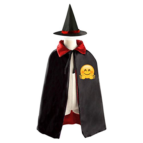Red Riding Hood Movie Costume Pattern (Victory Emoji Meme Witch Cloak Reversible Cosplay Costume Satin Cape for Kids Boys Girls)