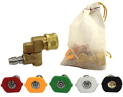 Pressure Washer Nozzle Tips and Quick Connect Pivot Coupler - ¼ in, 3.0 GPM, 1500-3750 PSI, 0, 15, 25, 45, 60 - For Most Power Washer Spray Wands and Accessories - Free Industrial Cotton Bag